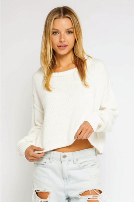 I'm Your Girl in White | Inside Out Round Neck Sweater