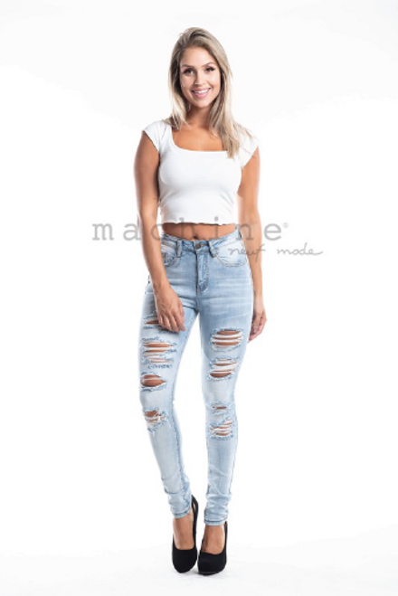 The Shana Jeans | High Waist Destroyed Denim