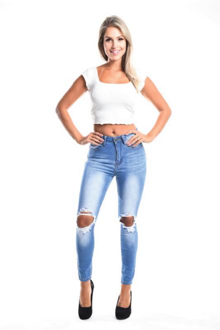 The Mara Jeans   High Waist Destroyed Knee Denim