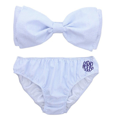 (S-L) Monogrammed Seersucker Bow Bikini | Blue