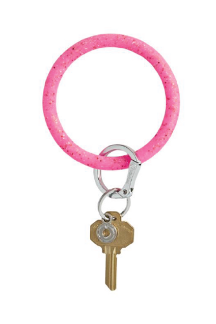 Key Ring by Oventure in Tickled Pink Confetti. Available in Macon, GA & Marietta, GA.