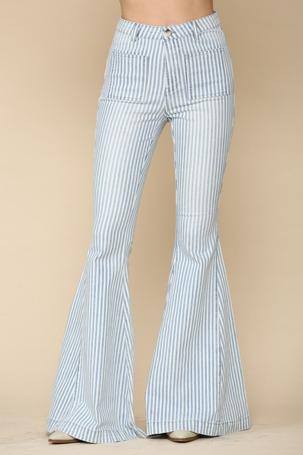 High Waisted Vertical Stipe Bell Bottom Flares available in Macon, GA & Marietta, GA