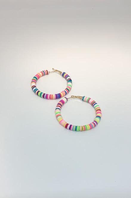 Multicolored Neon Vinyl Hoop Earrings Available in Macon, GA & Marietta, GA.