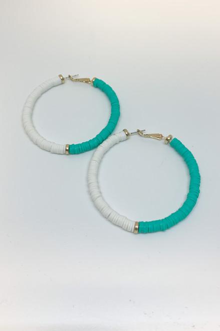 Two Tone White & Turquoise Vinyl Hoop Earrings Available in Macon, GA & Marietta, GA