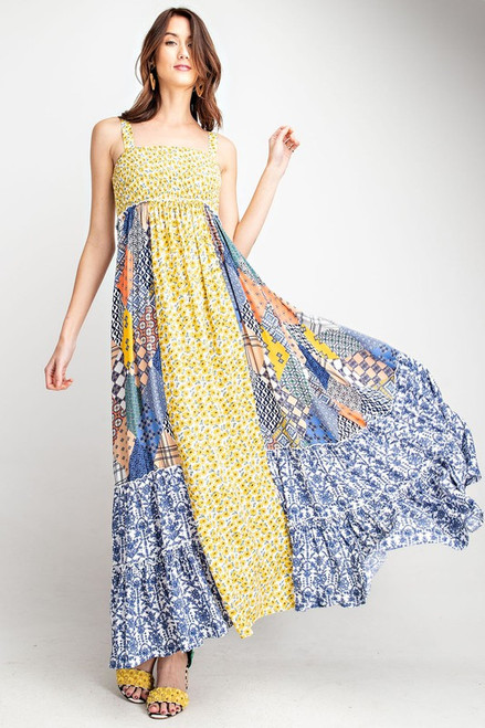 Mix Print Maxi Dress in Blues and Yellows available in Macon, GA & Marietta, GA.