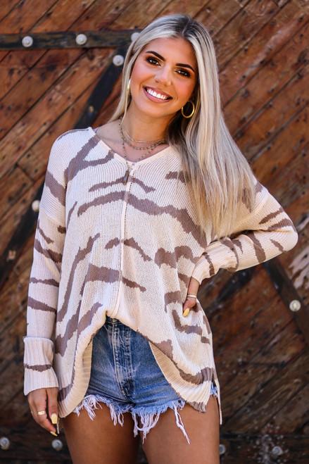 Tiger print neutral sweater available in Macon, GA and Marietta, GA.