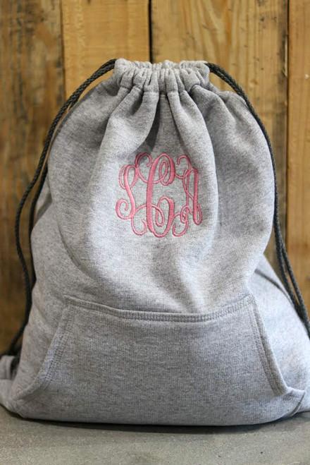 Monogrammed Heather Gray Drawstring Bag