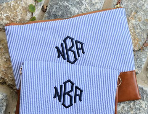 Monogrammed Navy Seersucker Cosmetic Bag