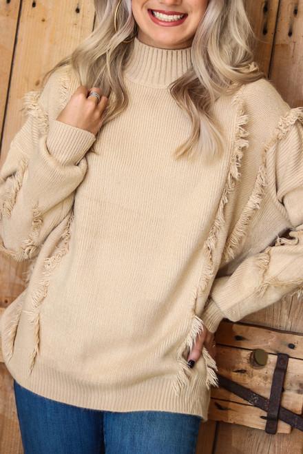 Mock Neck Fringe Sweater | Beige