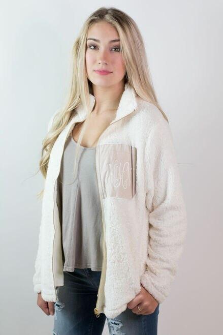 (S-XL) Monogrammed Sherpa Fleece Full Zip Jackets