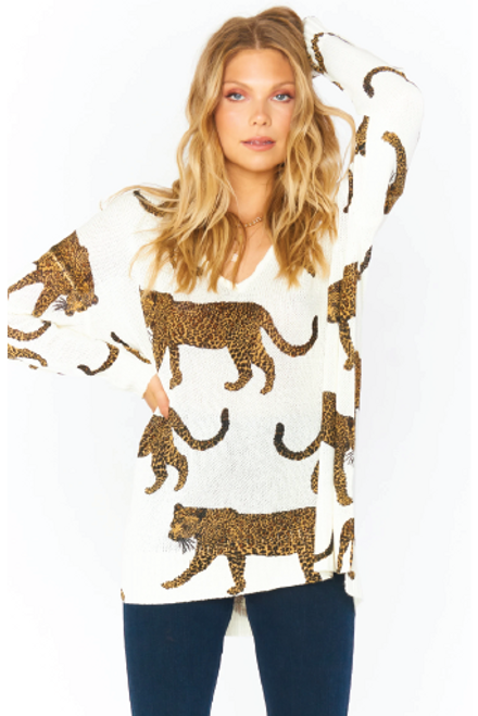 Show Me Your Mumu Hug Me Sweater Tossed Leopard Knit available in Macon GA & Marietta GA