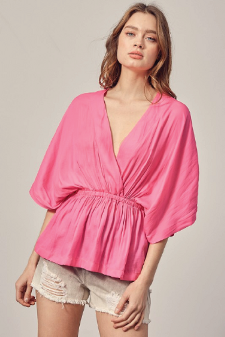 Hot Pink Surplice High Low Top available in Macon, GA & Marietta, GA
