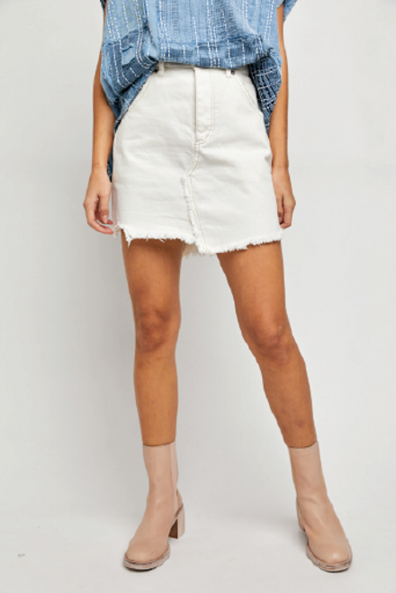 Free People   Brea Cut Off Skirt   Deco White