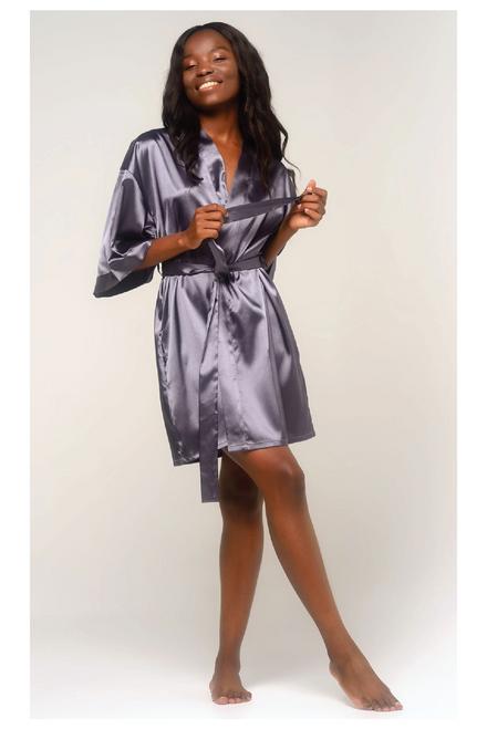 Monogrammed Satin Robe | Charcoal