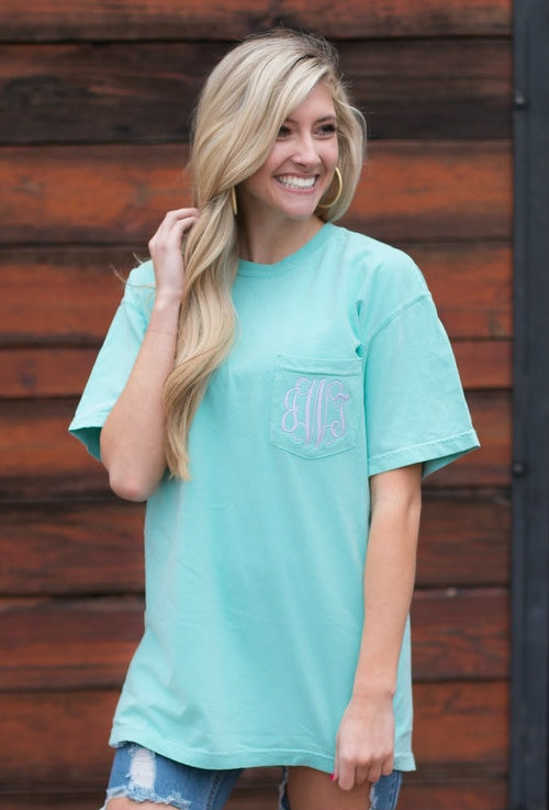 4c1e898b Monogrammed Short Sleeve Comfort Colors | Chalky Mint - Ginny Marie's