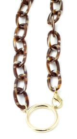 Valrose Acetate Eyeglass Necklace Crafted in France with All Natural Materials ; Light Brown Acetate Chain (Ace941-Link03L)