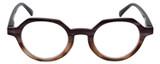 Calabria Elite Designer Unisex Wood Tone Hexagon Round Reading Glasses R207 46mm