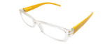 Calabria Terry Rectangular Designer Reading Glasses Crystal/Yellow 50mm