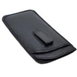 Calabria Soft Black Double Slip-In Case w/ Plastic Clip Large Size