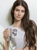 Camo Kitty mug with model