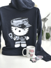 Camo Kitty Keep Me Warm Set with Hoodie, Mug, Patch and Sticker