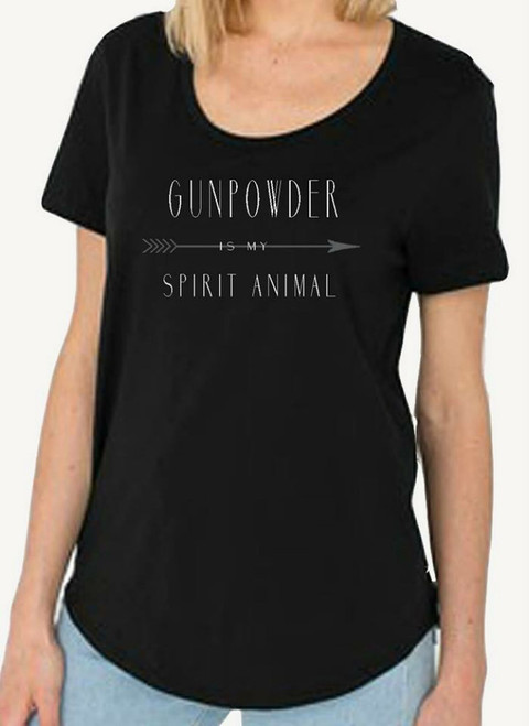 """Gun Powder is my Spirit Animal"" Black Loose Scoop Tee"