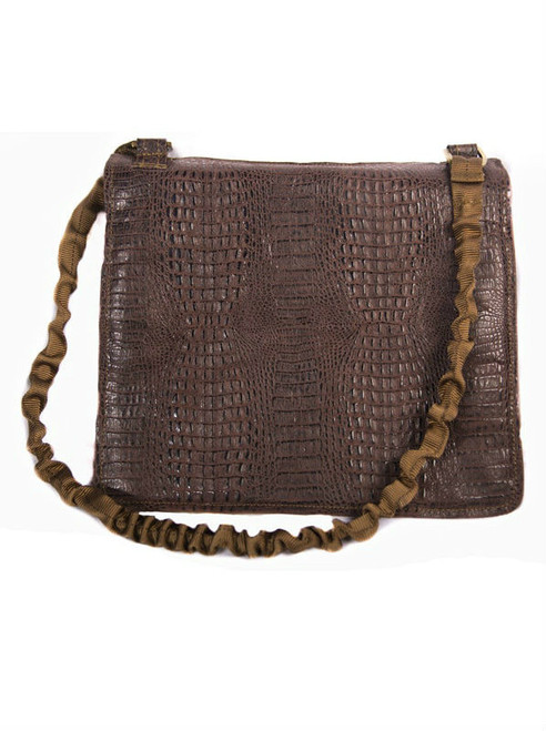 NORB Messenger Style Bag in Espresso Croc Leather Exterior Front