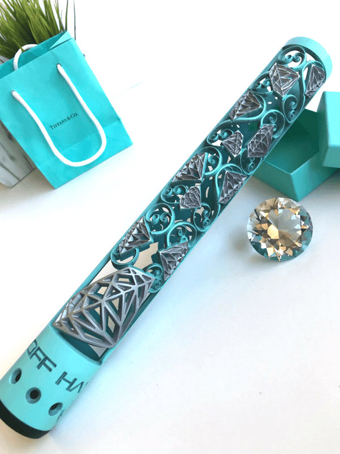 Diamond AR15 hand guard in Tiffany Blue and Crushed Silver Cerakote