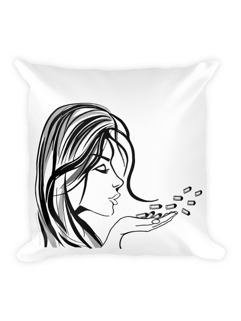 Blowing Bullets Pillow 18 x 18 White