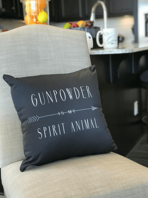 Gunpowder is my Spirit Animal Pillow close up on chair