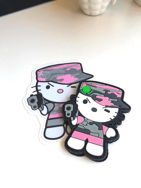 Camo Kitty Patch and Sticker Combo