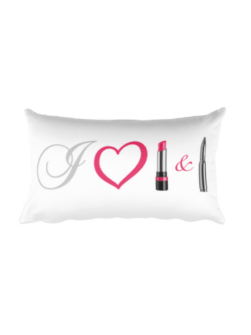 I heart lipstick and lead pillow 20 x 12