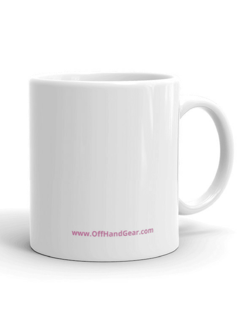 Camo Kitty Mug 11oz back with offhandgear.com text in pink