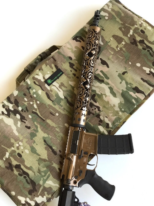 NORM (No Ordinary Range Mat) in Multicam fabric with rifle with Fluer D Lis hand guard