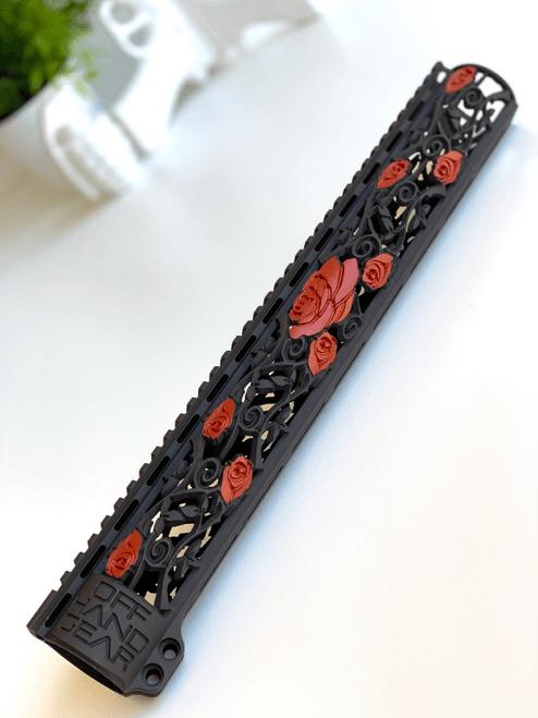 Slim Series Rose Vine Design Rail with Black and Red 2 Color Cerakote Finish Option