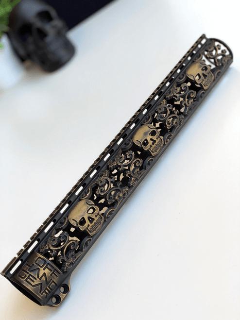 Slim Series Skull Design Rail with Black and Gold Battleworn Cerakote Finish Option