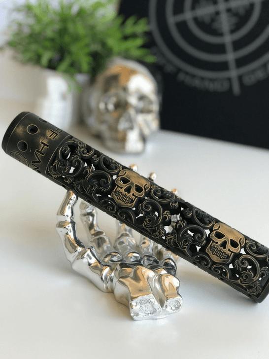 "Skull AR15 rail 12"" in Battleworn Gold Cerakote"