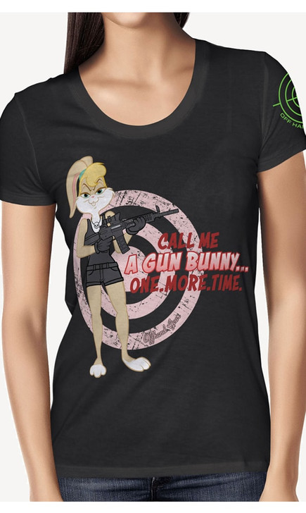 Call Me A Gun Bunny Heather Black Tee