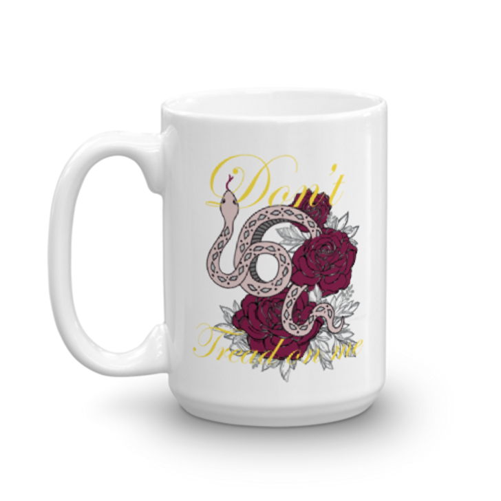 """Lady Gadsden """"Don't Tread On Me"""" large 15oz coffee cup"""
