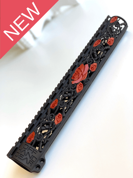 NEW Slim Series Rose Vine Design Rail with Black and Red 2 Color Cerakote Finish Option
