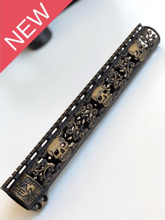NEW Slim Series Skull Design Rail with Black and Gold Battleworn Cerakote Finish Option