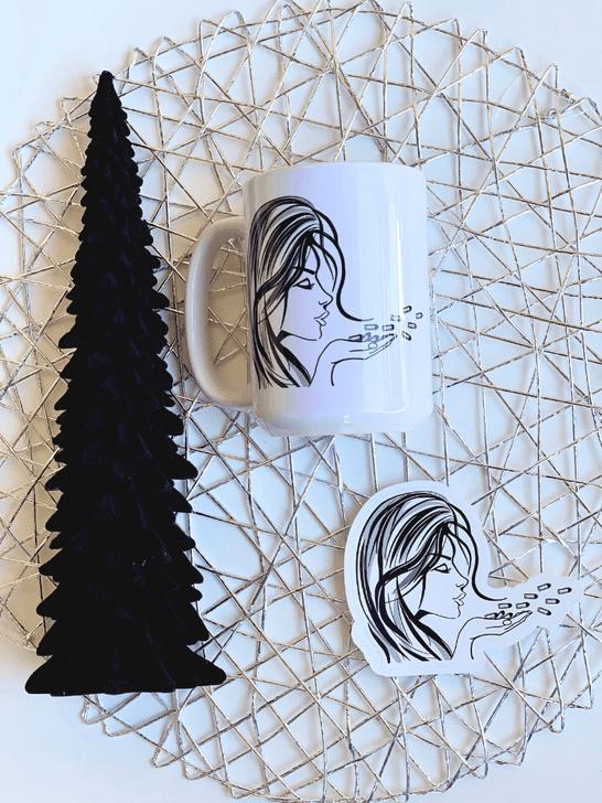 Blowing Bullets Mug and Sticker Set Holiday