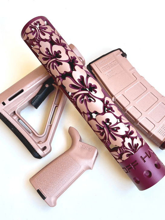 Black Cherry Rose Gold and rose gold MOE set Hibiscus hand guard