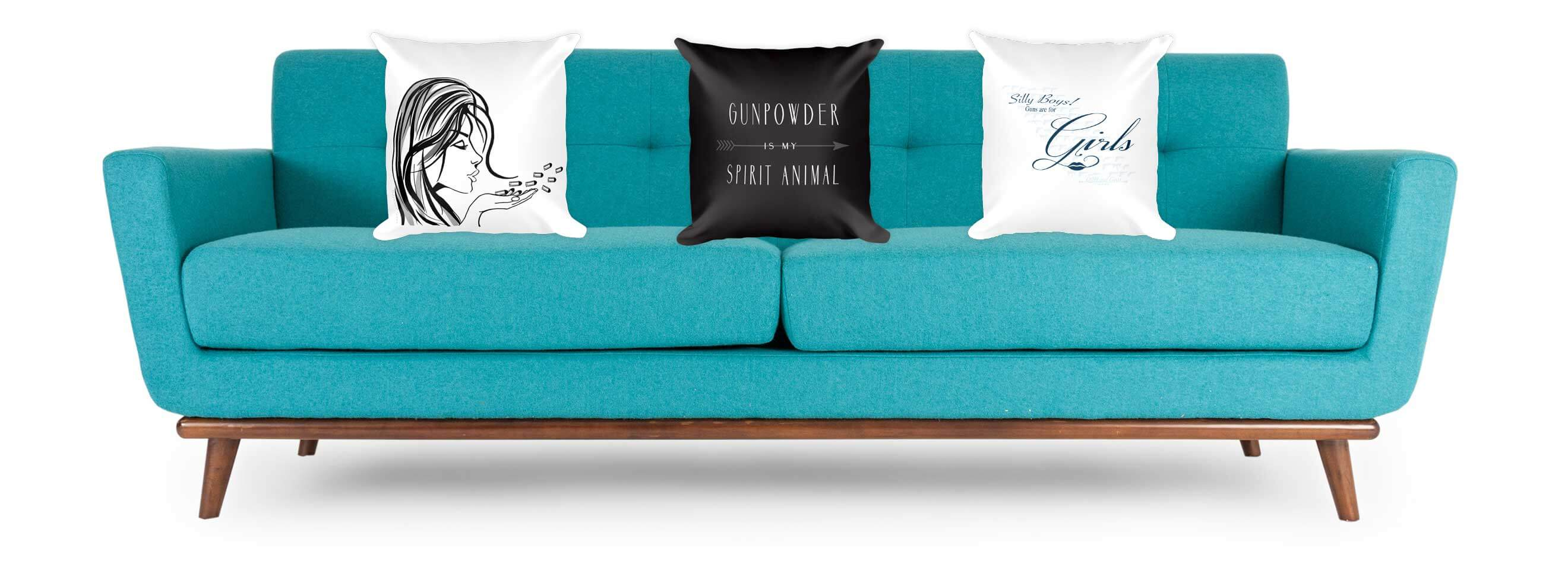 GunGirl Pillows on Tiffany Blue Sofa