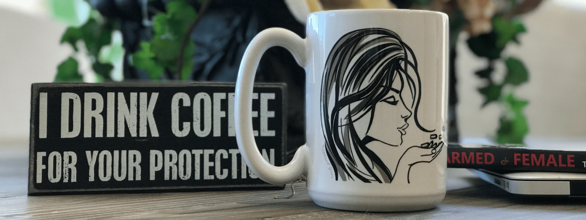 Blowing Bullets Coffee Mug with plaque