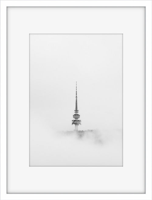 Telstra Tower Canberra in a sea of mist, black and white print in a white frame