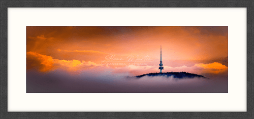 Telstra Tower at sunrise in a panorama print only