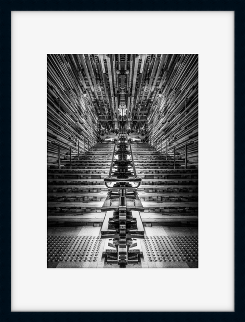 Black and white photo of the Nishi Grand Stair in a black frame