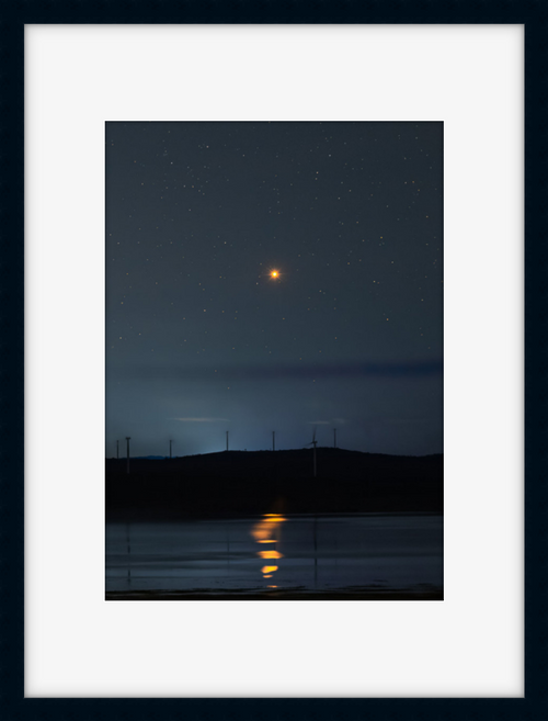 Mars rises above Lake George with the planet being reflected in the water below in a black frame