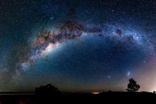 Milky way over Lake George in New South Wales print